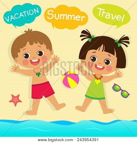 Cute Little Boy And Girl Playing With Sand On Summer Beach. Top View Of Summer Beach Vector. Kids On