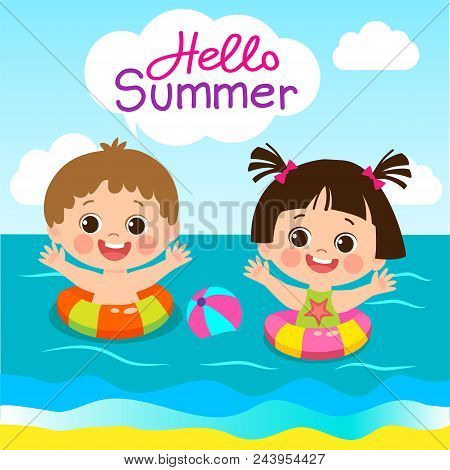 Fun Summer Activities For Kids. Summer Kids Vector. Happy Children Playing On The Beach Flat Vector