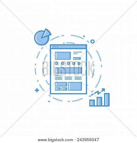 Vector Business Illustration Of Blue Colors Web Site Prototype With Statistics And Analytics In File