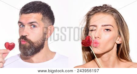 Emotion Set Of Pretty Girl And Bearded Man. Woman And Bearded Man Send A Kiss With Hearts. Collage O