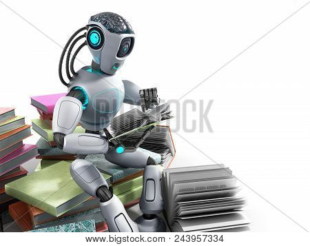 Modern Concept Of Piece Intelligence Robot Is Reading Books Sitting On A Pile Of Books3d Render On W