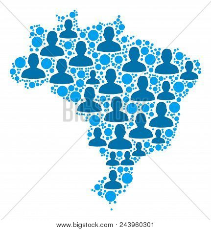 Population Brazil Map. Demography Vector Composition Of Brazil Map Organized Of Randomized Person It