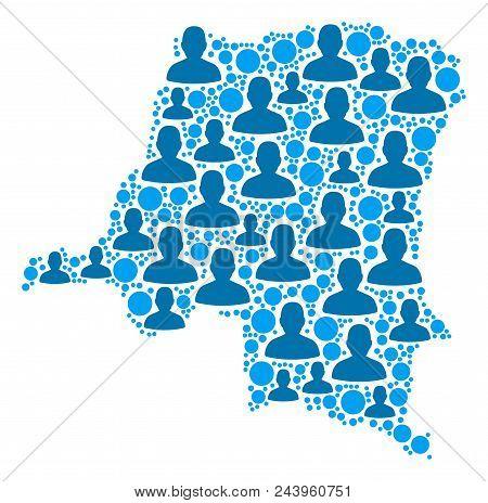 Population Democratic Republic Of The Congo Map. Demography Vector Pattern Of Democratic Republic Of