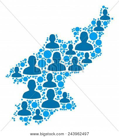 Population North Korea Map. Demography Vector Collage Of North Korea Map Constructed Of Randomized M