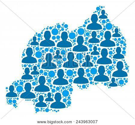 Population Rwanda Map. Demography Vector Collage Of Rwanda Map Designed Of Random Human Elements And