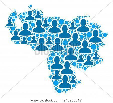 Population Venezuela Map. Demography Vector Concept Of Venezuela Map Created Of Scattered Human Elem