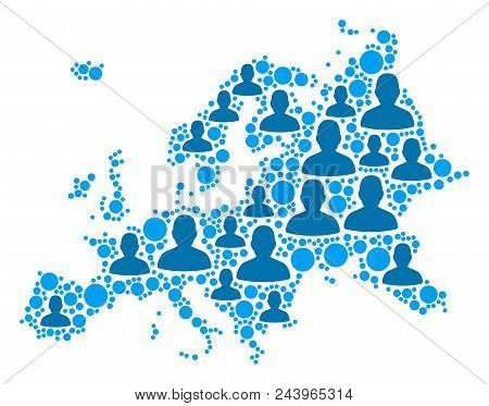 Population Europe Map. Demography Vector Composition Of Europe Map Created Of Random Men Elements An