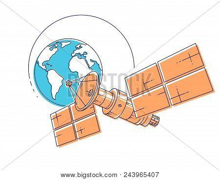 Satellite Orbiting Around Earth, Spaceflight, Communication Spacecraft Space Station With Solar Pane