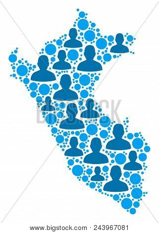 Population Peru Map. Demography Vector Concept Of Peru Map Constructed Of Random Person Items And Ro