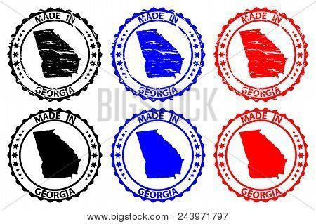 Made In Georgia - Rubber Stamp - Vector, Georgia (united States Of America) Map Pattern - Black, Blu