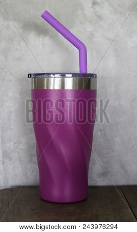 Stainless Steel Thermos Mugs And Silicone Straw For Reusable Set, Stock Photo