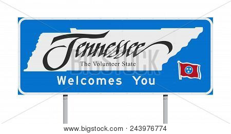 Vector Illustration Of Tennessee Welcomes You Blue Road Sign With The Official Nickname