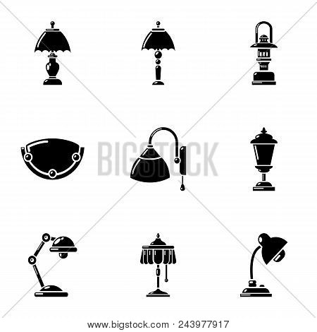 Lighting fixture icons set. Simple set of 9 lighting fixture vector icons for web isolated on white background poster