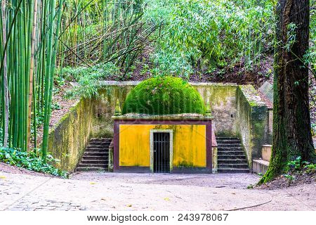Tiny Ancient Chapel In The Woods Painted In Yellow With A Moss Covered Roof. To The Left Grow Bamboo