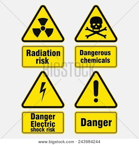 Warning Signs About Danger, Signs In Yellow Triangles, Danger Information, Attention, Vector Image