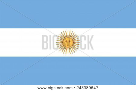 National Flag Of Argentina With Sun Of May. Triband Of Three Horizontal Bands In Light Blue And Whit