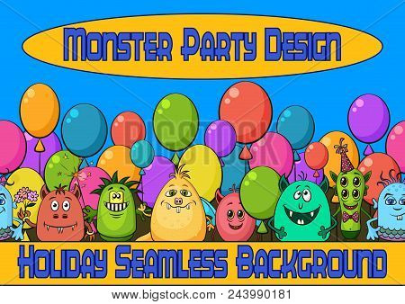 Horizontal Seamless Background For Your Design With Different Funny Monsters, Cartoon Characters Wit