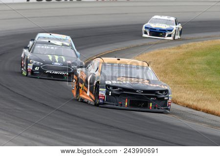 June 03, 2018 - Long Pond, Pennsylvania, USA: Jamie McMurray (1) battles for position during the Pocono 400 at Pocono Raceway in Long Pond, Pennsylvania.