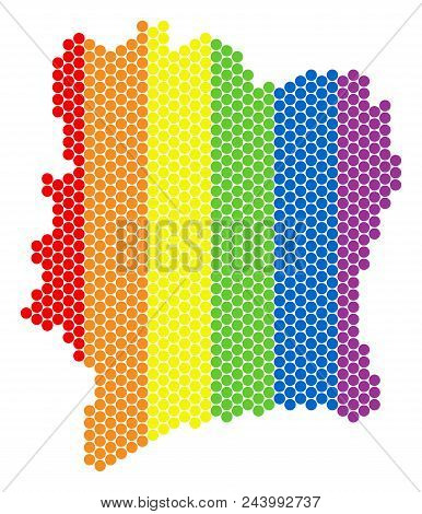 A dotted LGBT Ivory Coast map for lesbians, gays, bisexuals, and transgenders. Colored vector collage of Ivory Coast map combined with round spots. poster