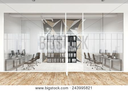 Star Wall Pattern Office Lobby With Glass And White Walls And A Wooden Floor. Rows Of Tables Standin