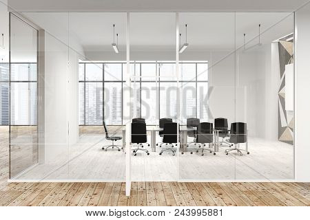 Star Wall Pattern Office Lobby With Glass And White Walls And A Wooden Floor. A Long Conference Room