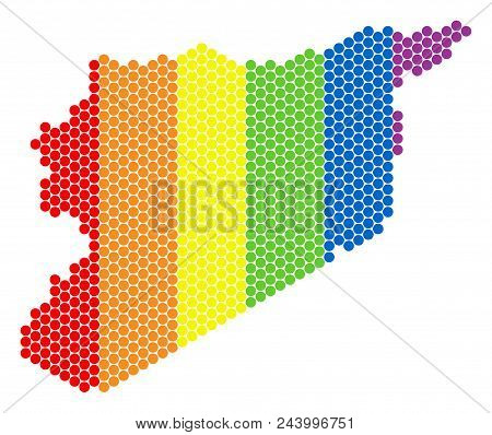 A Dotted Lgbt Syria Map For Lesbians, Gays, Bisexuals, And Transgenders. Colorful Vector Composition