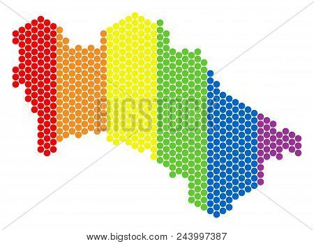 A Dotted Lgbt Turkmenistan Map For Lesbians, Gays, Bisexuals, And Transgenders. Multicolored Vector