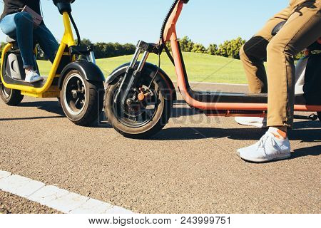 Rest, Riding An Electric Bike, Electric Mobility Scooter, Low Angle View