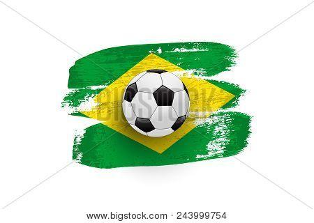 Realistic Soccer Ball On Flag Of Brazil Made Of Brush Strokes. Vector Design Element