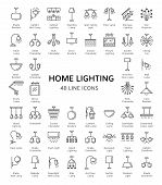 Different kinds of wall, ceiling, table and floor lamps. Home lighting. Modern light fixtures. Chandeliers, torcheres & pendants. Line icon set. Front view. Isolated objects on white background. poster