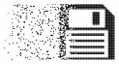Dissolved floppy disk dotted vector icon with disintegration effect. Rectangular fragments are combined into dissolving floppy disk shape. poster