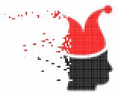 Dispersed joker dot vector icon with disintegration effect. Square pixels are grouped into damaging joker shape. Pixel dispersing effect shows speed and movement of cyberspace concepts. poster