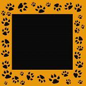 tiger tracks frame scrapbook cutout page illustration poster