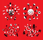 illustration of four abstract cartoon funny characters poster