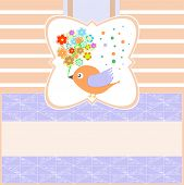 Vector birds with greeting flowers card blank poster