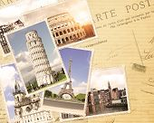 Vintage travel background with retro photos of european landmarks. Eiffel tower in Paris, Leaning Tower of Pisa, Colosseum in Rome. Old paper texture with postcards poster