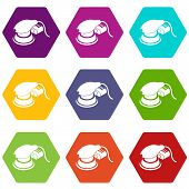 Circular sheet sander icons 9 set coloful isolated on white for web poster
