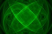 Abstract green beaautiful fractal background over black poster