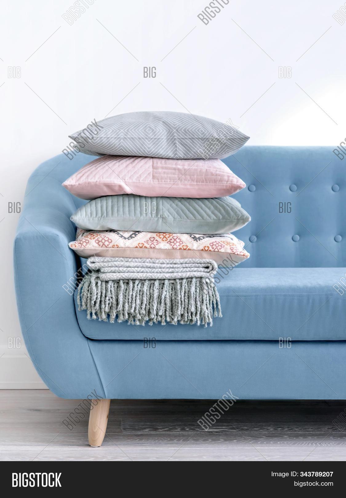 Trendy Denim Blue Sofa Image Photo Free Trial Bigstock