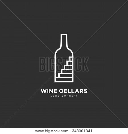 Wine Cellars Logo Design Template With Bottle And Stairs In Linear Style. Vector Illustration.