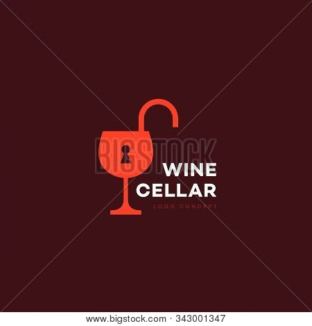 Wine Cellar Logo Design Template With Wineglass And Lock. Vector Illustration.