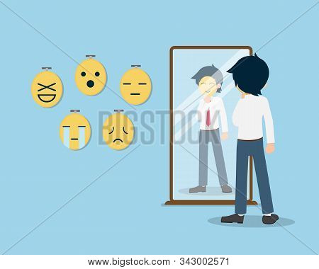Salary Man 01 Are Using A Mask To Conceal The True Feeling.sometimes We Cannot Express The True Feel