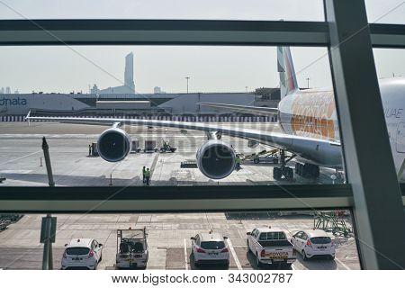 DUBAI, UAE - CIRCA JANUARY 2019: Emirates Airbus A380 on tarmac at Dubai International Airport.