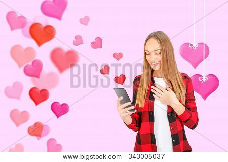 Beautiful Happy Woman Sending Or Accept Love Text Message On Mobile Phone With Red Hearts Flying Awa
