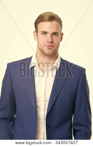 Looking Like A Successful Entrepreneur. Business Man Or Businessman Isolated On White. Professional