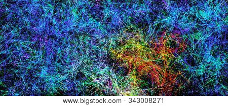 Digital painted texture. Variety paint splashes in red and blue tones. Psychodelic pattern. Contemporary 2d illustration