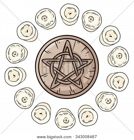 Pentacle Occult Sign In A Circle Of White Candles. Wooden Pentagram Hand Drawn Magic Doodle. Wiccan