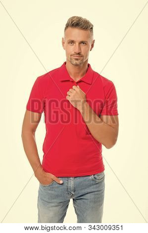 Perfect Fit. Daily Outfit. Man Handsome In Red Shirt. Guy With Bristle Wear Casual Outfit. Model Clo