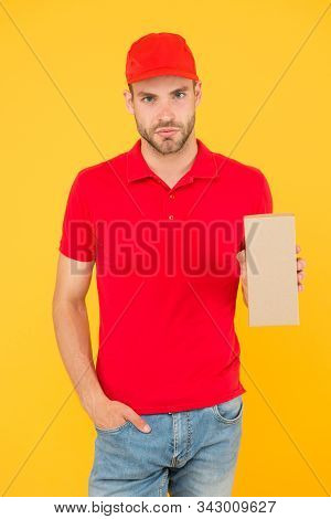 Performance On Time Worldwide. Smooth Transition. Courier Delivery. Postman Worker. Man Red Cap Yell