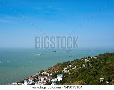Vung Tau, Vietnam - December.24.2020: View Over Vung Tau From Cable Car At Ho May Park